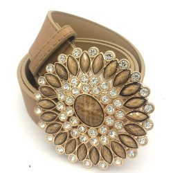 Luxury vintage leather belt with crystal & pearls round buckle