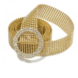 Thin shiny rhinestone belt - transparent crystal belts
