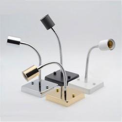 Universal 360 degree E27 lamp holder - ceramic screw socket lamp base - aluminum hose goose neck square base