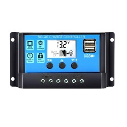 12V 24V - Auto solar panel charge controller - PWM controllers - LCD display - dual USB 5V