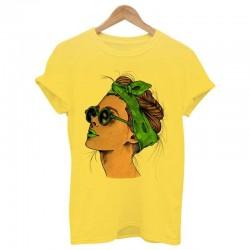 Summer t-shirt with women's print - t-shirt - yellow - pink - white