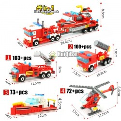 Fire Truck - Car - Helicopter - Boat - 4 in 1 Building Blocks Set - 348pcs - Children - Toys