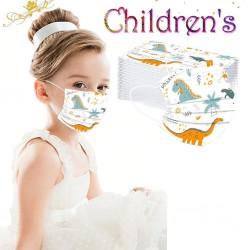 50 Stück - antibakterielle Einweg-Gesichtsmaske - Kindermundmaske - 3-lagig - Tierdruck