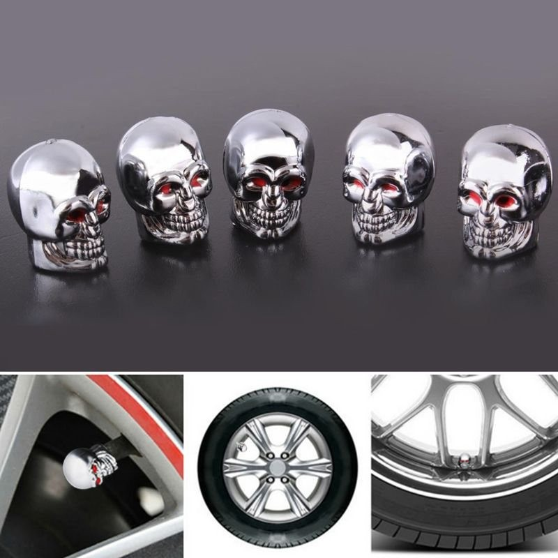 5 pieces - motorcycle / car / bike tire valve caps - skull