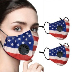 2 - 4 pieces - PM2.5 - protective face / mouth mask with air valve & filter - reusable - American flag