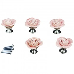 Rose shaped furniture handles - ceramic - 5 pieces