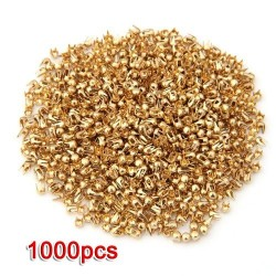 Gold round rivets - studs - DIY decoration - 2.5mm - 1000 pieces