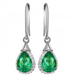 Elegant long earrings with green crystal - 925 sterling silver