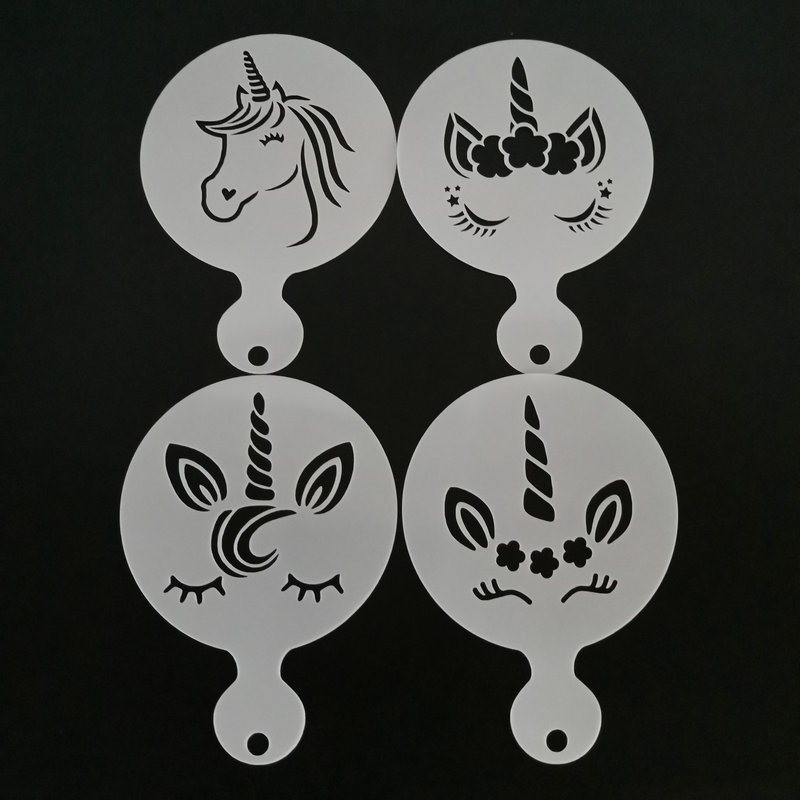 4pcs - unicorn design - coffee art - stencils