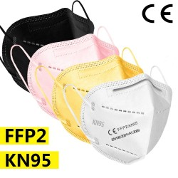 5-200pcs - ffp2 face mask - KN95 - 5 Layers filter - black - white- pink