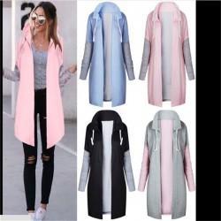 Women Coats - Casual - Hooded - Pink - Blue - Black