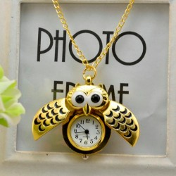 Vintage - Watch Owl - Pendant Necklace