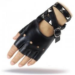 Half Finger - Leather Gloves - Women - Rock Punk Style