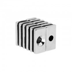 N35 Neodymium magnet strong block 20 * 10 * 4mm with 4mm hole - 10 pieces