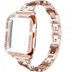 Stainless steel strap & protective case with crystals for Apple Watch 5/4/3/2/1