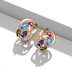 Small earrings with butterfly & crystals