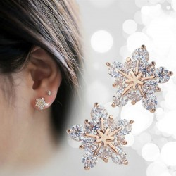 Crystal snowflakes - rose gold earrings
