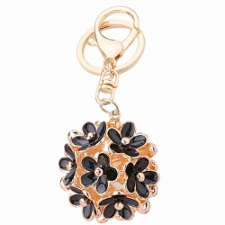 Hollow-out crystal flower - keychain