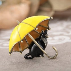 Black cat umbrella brooch