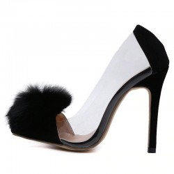 Transparent black high heel pumps with fur