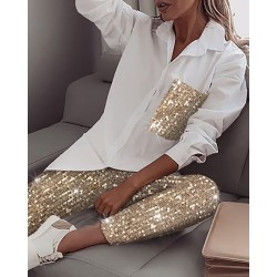 Glittery long sleeve shirt and pants set