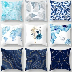 Blue geometric design - cushion cover - polyester - 45 * 45cm