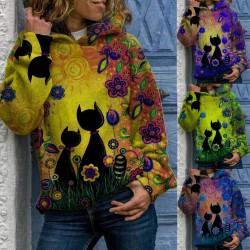 Printed cat - hoodie - long sleeve sweater