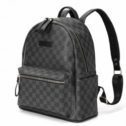 POLO - vintage leather backpack - plaid design