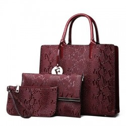 Fashionable leather snake pattern - shoulder / crossbody bag - 3 pieces
