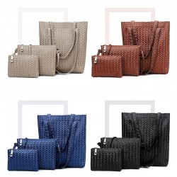 Fashionable shoulder / crossbody bag / small clutch - weave leather pattern - 3 pieces set