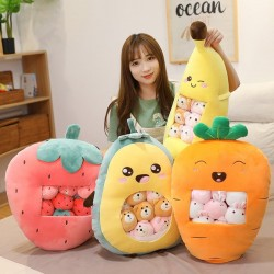 Plush cushion with small toys - transparent pocket - strawberry - avocado - banana - carrot