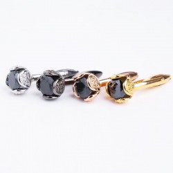 Luxurious cufflinks with black crystal - 2 pieces