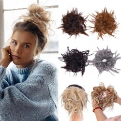 Fake hair bun - elastic scrunchie with synthetic hair - wig