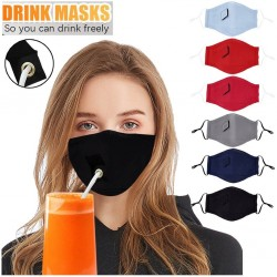 Mouth / face protective mask - reusable - with straw hole for drinking