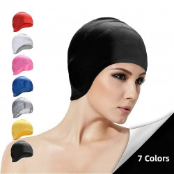 Silicone swimming cap - ears & long hair protection - waterproof - unisex