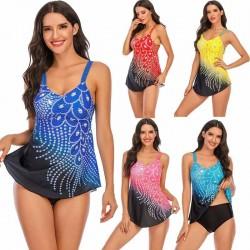 Long top bikini set - peacock feather print
