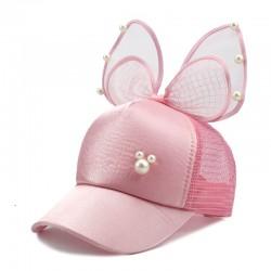 Kids baseball cap - snapback with bow / pearls / mesh