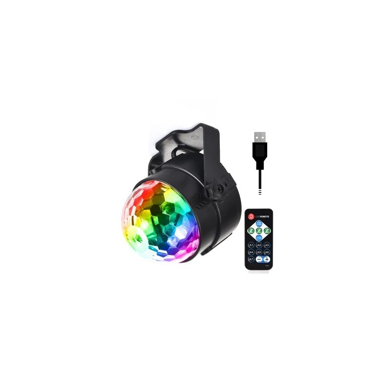 Crystal ball - stage light projector - RGB - LED - with remote / adjustable base - 5V - for disco / parties