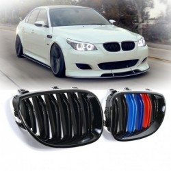 Front kidney grill - gloss black M-color - for 2003-2010 BMW E60 E61 5 series