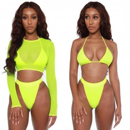 Sexy bikini set - long sleeve top - high / low waist - 3 pieces