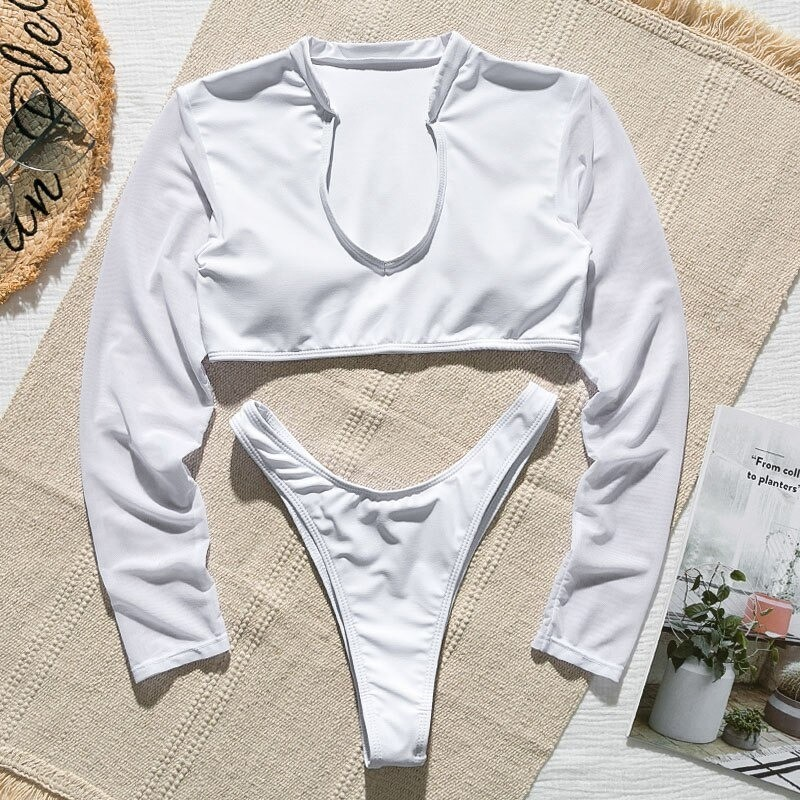 Sexy bikini set - thong / long sleeve top