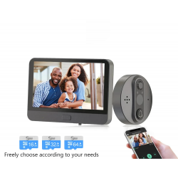 Smart video doorbell - with peephole / PIR motion detection / APP / WiFi - remote control