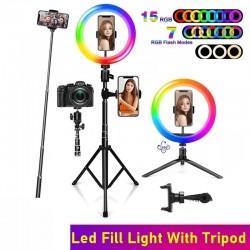 Selfie LED Ring - RGB - dimmbares Fülllicht - mit Stativ - für Fotografie / Make-up / Video