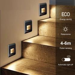 LED wall / stairs light - recessed lamp design - PIR motion sensor - AC85-265V