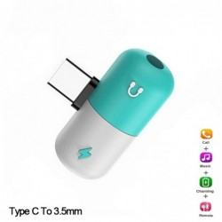 USB type-C - 3.5mm jack - aux audio charger - OTG converter - adapter - capsule shape