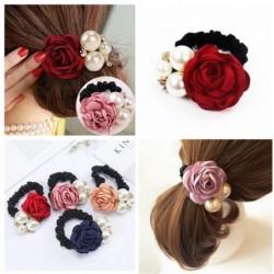 Elegantes elastisches Haarband - mit Rosen / Perlen