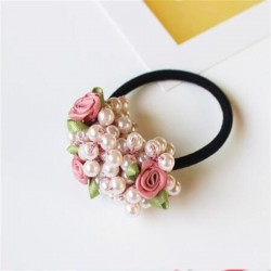Elegantes elastisches Haarband - mit Blumen / Perlenperlen