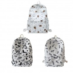 Fashionable backpack - large capacity - with dogs / butterflies / feathers print