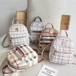 Small plaid backpack - shoulder bag