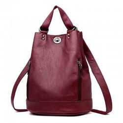 Fashionable leather backpack - multifunction vintage shoulder bag - large capacity